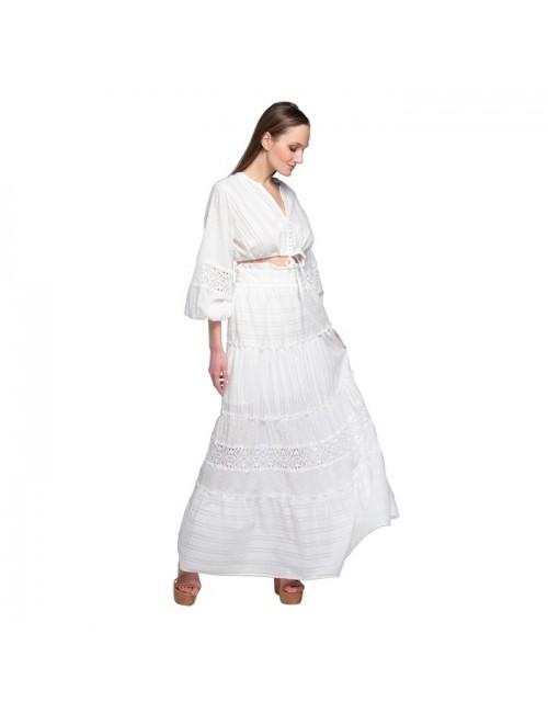 Γυναικεία φούστα Lace λευκό M-5172