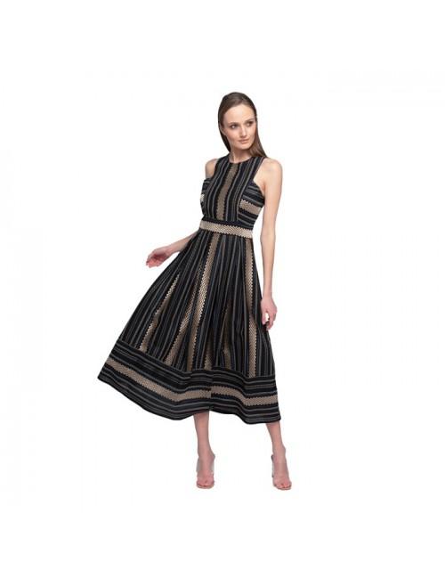 Γυναικείο φόρεμα Lace Μαύρο Χρυσό M-2920