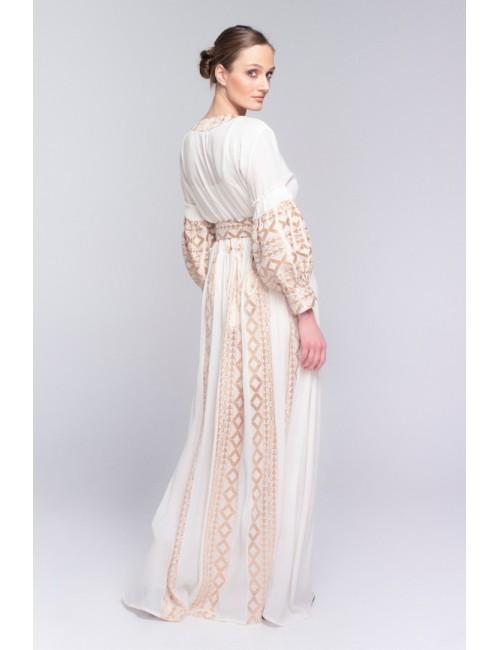 Γυναικείο φόρεμα Lace Μπέζ-Χρυσό M-2948