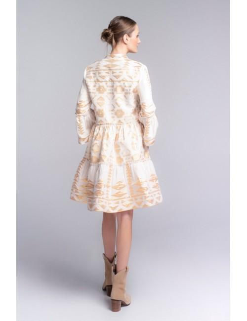 Γυναικείο φόρεμα Lace Λευκό Χρυσό M-2950