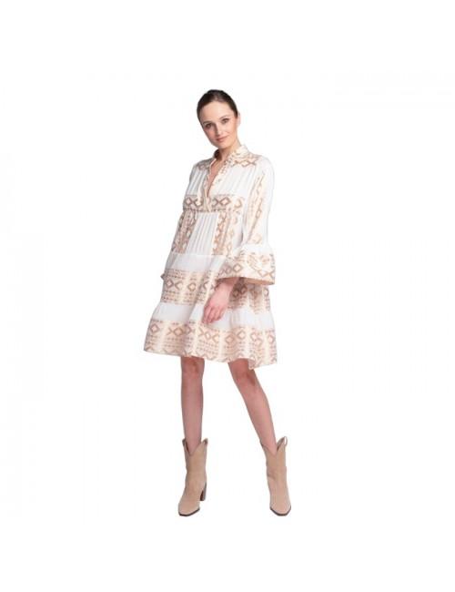 Γυναικείο φόρεμα Lace Λευκό Χρυσό M-2944