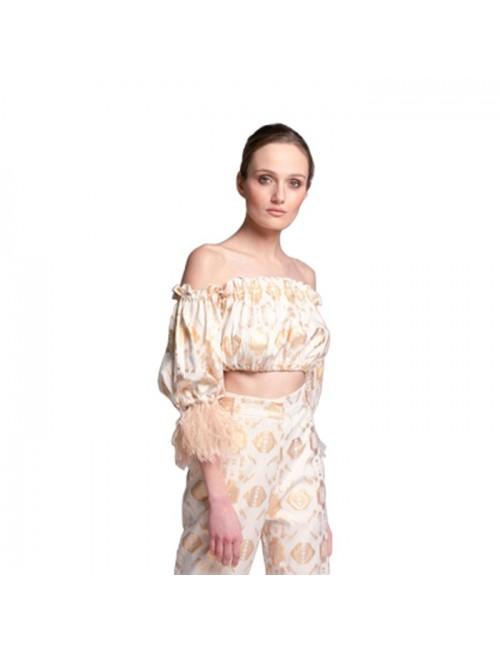 Γυναικείο TOP Lace Λευκό-Χρυσό (M-1485)