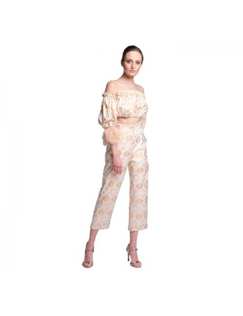 Γυναικείo παντελόνi Lace Λευκό-Χρυσό M-4226