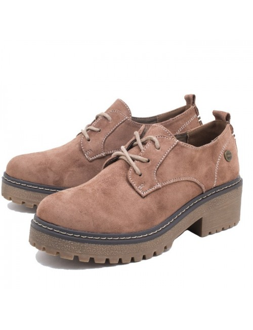 Γυναικείο δετό παπούτσι τύπου OXFORDS  Niko Amore 19809 Αδιάβροχο Συνθετικό Καστόρι σε απόχρωση Πούρο