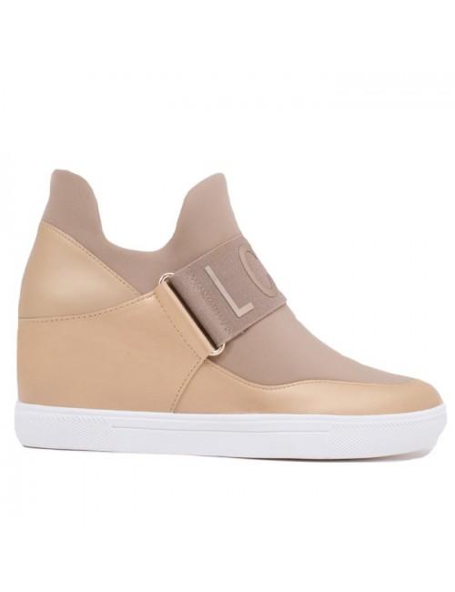 Γυναικεία sneakers Lara Conte MADRID K3700004405F-IRIS-010 Μπεζ-Πλατίνα (memory foam)