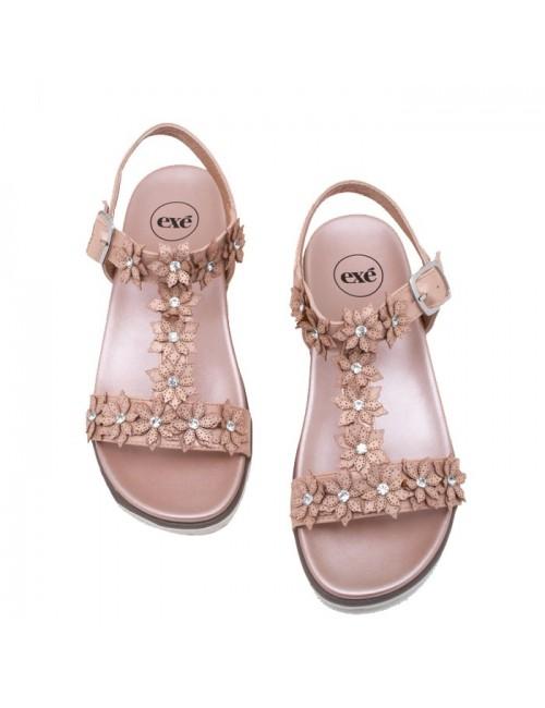 Γυναικείο παπούτσι flat EXE I489Q883182505 NUDE-ΜΕΤΑΛΛΙΚΟ