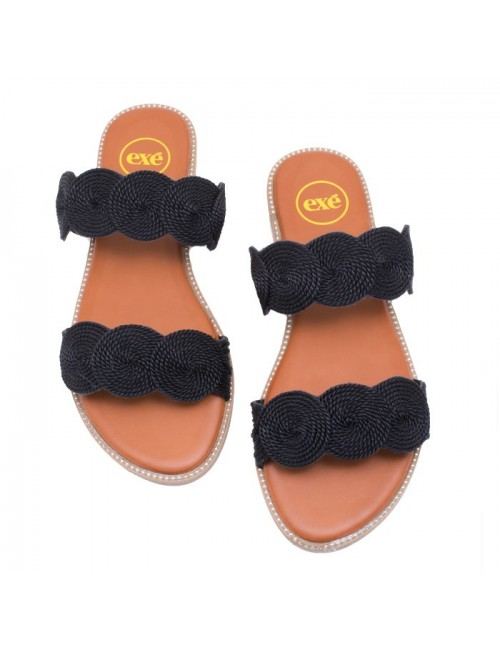 Γυναικείο παπούτσι flat EXE I468D058154605 ΜΑΥΡΟ