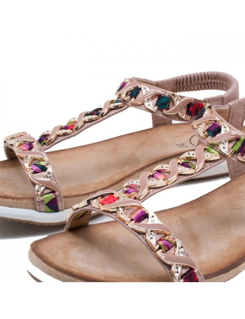 Γυναικείο παπούτσι flat EXE I489Q446224105 ΠΛΑΤΙΝΑ-ΜΕΤΑΛΛΙΚΟ (ΠΟΛΥΧΡΩΜΟ)