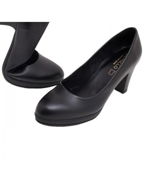 Γυναικεία Γόβα Katia shoes (ΑΝΕΤΟ) Δερμάτινη Ελληνική 5098 Μαύρη