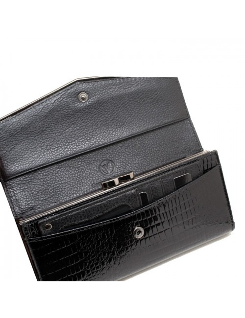 Γυναικείο πορτοφόλι VERDE 18-0001017 Δερμάτινο Λουστρίνι Μαύρο