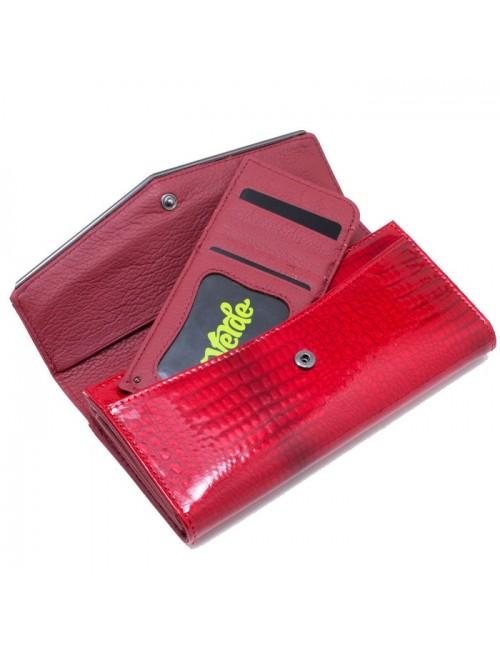 Γυναικείο πορτοφόλι VERDE 18-0001017 Δερμάτινο Λουστρίνι Κόκκινο