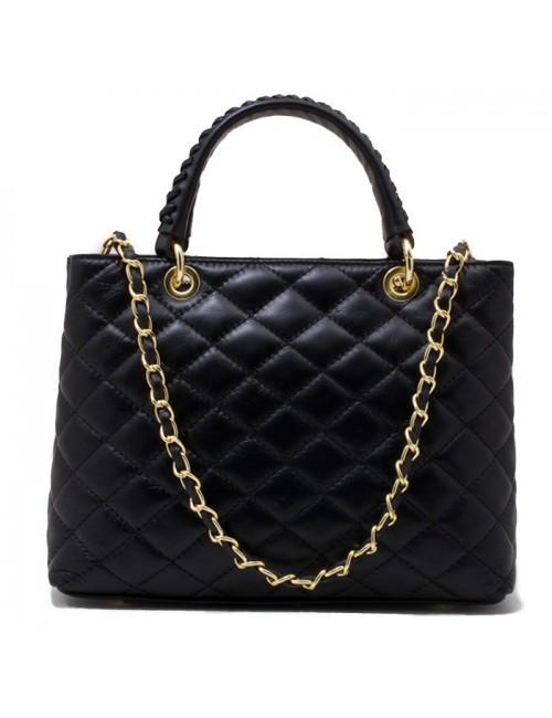 Γυναικεία τσάντα τύπου Σανέλ καπιτονέ δερμάτινη τσάντα ΜΑΥΡΗ 40-M