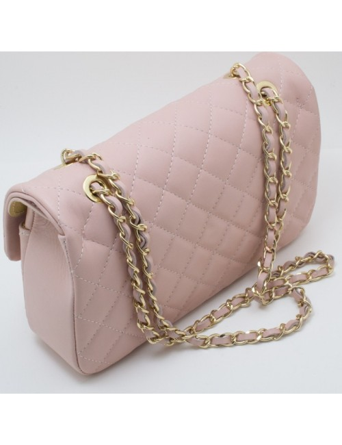 Γυναικεία τσάντα δερμάτινη καπιτονέ τύπου Σανέλ μεγάλη nude 43-L
