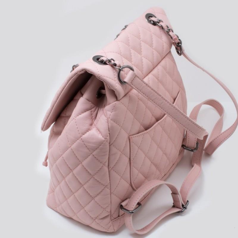 f512692b0a Γυναικεία ροζ δερμάτινο καπιτονέ σακίδιο τύπου chanel ΡΟΖ 53-SL