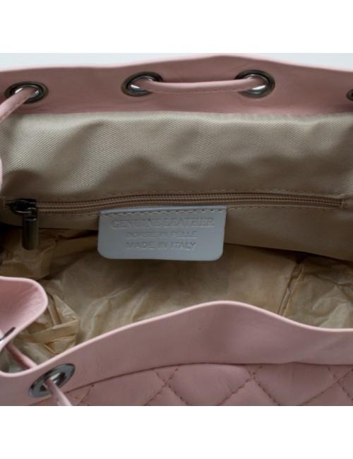 Γυναικείο ροζ δερμάτινο καπιτονέ σακίδιο τύπου Σανέλ  ΡΟΖ 53-SL