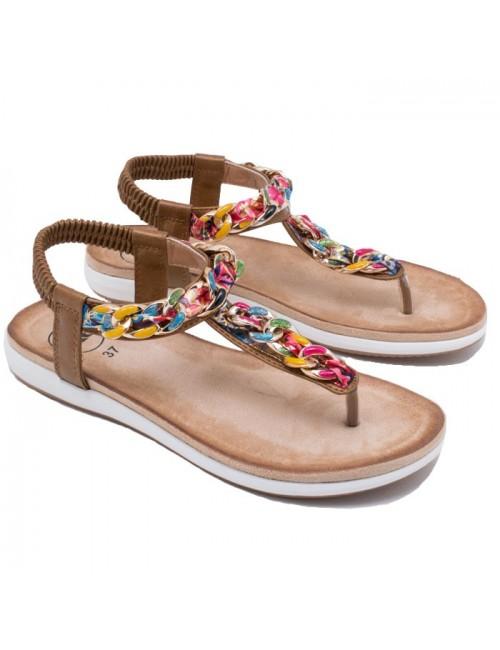 Γυναικείο παπούτσι flat EXE I489Q164272105 ΜΠΡΟΝΖΕ (ΠΟΛΥΧΡΩΜΟ)