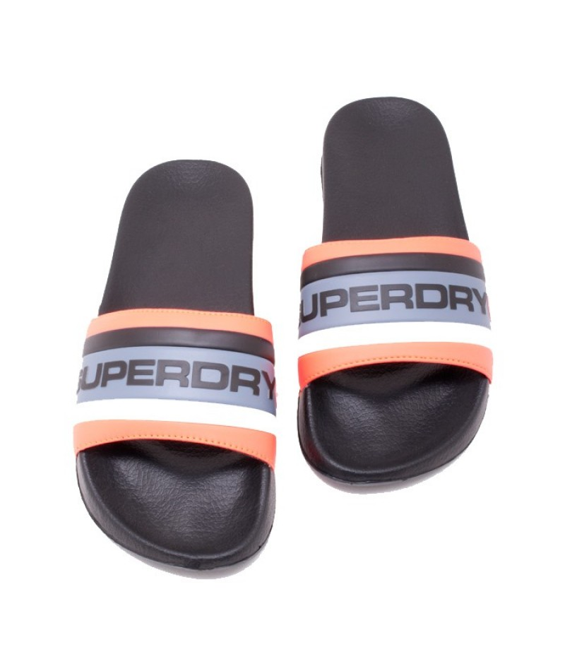 Ανδρικές σαγιονάρες SUPERDRY MF3150SU-V4B RETRO COLOUR BLOCK POOL SLIDE  (V4B/BLACK/HAZARD ORANGE/LIGHT BLUE)