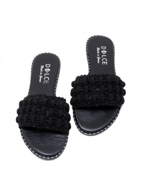 Γυναικείο flat παπούτσι DOLCE Ε190502 ΜΑΥΡΟ