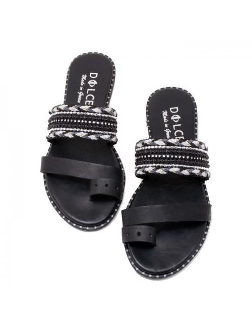 Γυναικείο flat παπούτσι DOLCE Ε190542 ΜΑΥΡΟ