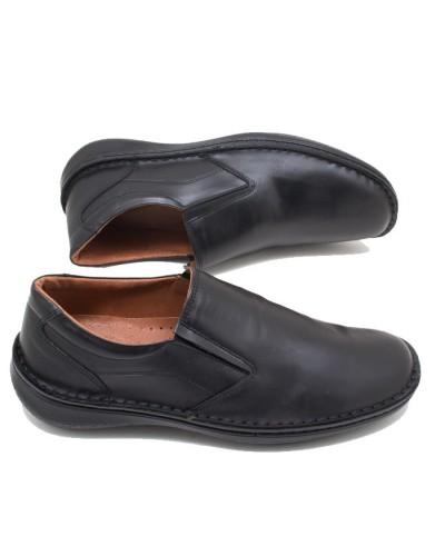 Ανατομικά ανδρικά casual παπούτσια nicon 82-1 Δερμάτινα Μαύρα Ελληνικά