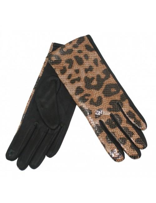 Γυναικεία γάντια verde 02-0000538 Μπέζ-Animal