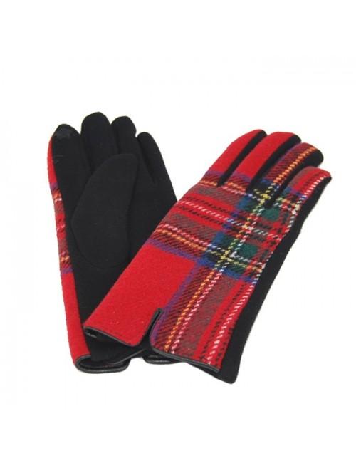 Γυναικεία γάντια verde 02-0000540 Καρό-Κόκκινα