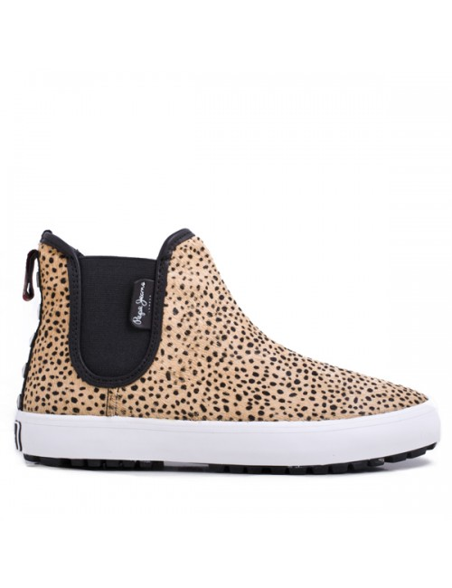 Γυναικείο casual μποτάκι pepe jeans PLS30218 848 animal print pony skin