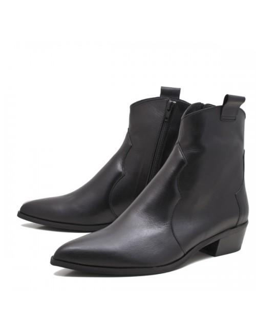 Γυναικείο μποτάκι WESTERN Katia shoes K 113 Δερμάτινο Μαύρο Ελληνικό