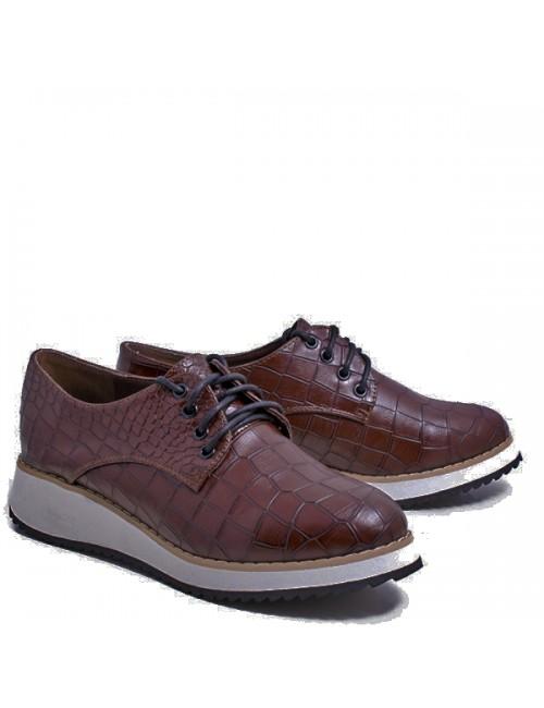 Γυναικεία παπούτσια Oxfords Axel  Συνθετικά Δερμάτινα Καφέ Κροκό