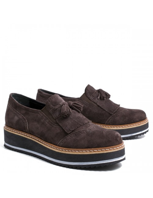 Γυναικεία παπούτσια Oxfords Buybrand Δερμάτινα-Καστόρι Καφέ