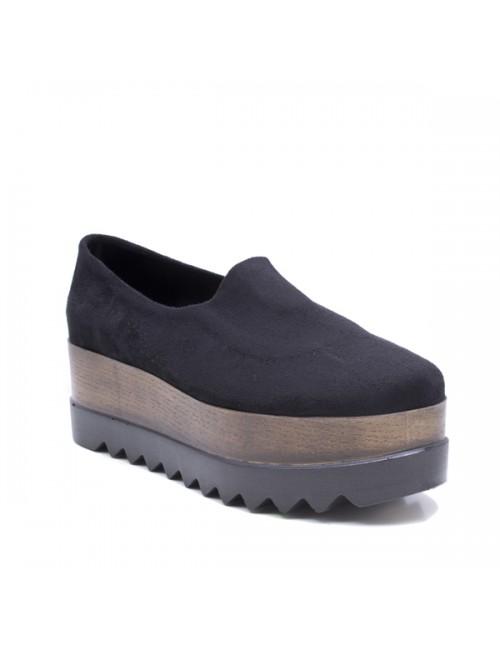 Γυναικεία παπούτσια δίπατα Oxfords slip-on  Δερμάτινα-Καστόρι Μαύρα Ελληνικά