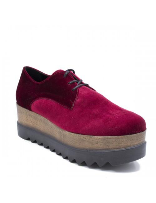 Γυναικεία παπούτσια δίπατα Oxfords Buybrand Δερμάτινα-Βελούδο Μπορντό