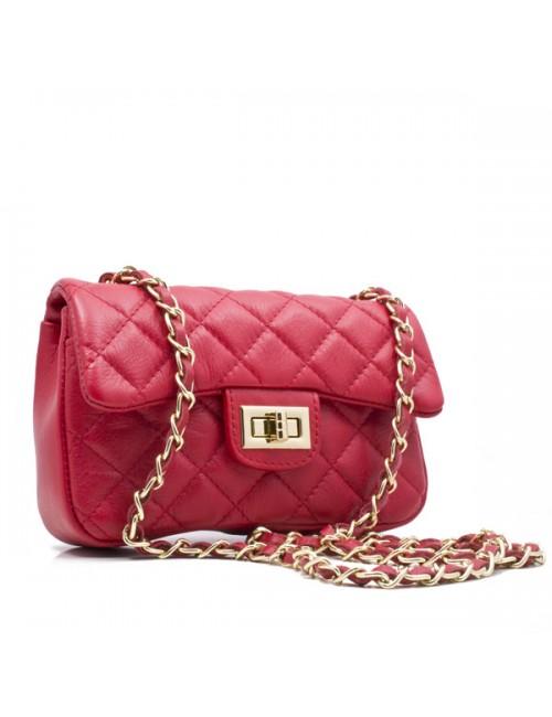 Γυναικεία τσάντα καπιτονέ δερμάτινη  τύπου Σανέλ  μικρή 23-S ΚΟΚΚΙΝΟ
