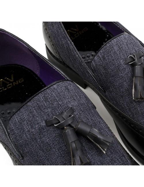 Ανδρικό loafer μαύρο γκρι