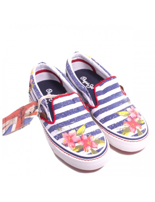 Slip-on white- ciel