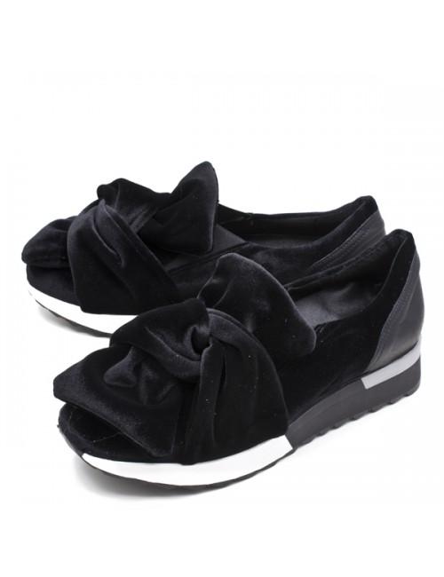 Γυναικεία Sneakers SMART CRONOS Αδιάβροχα  Δερμάτινα Μαύρα με βελούδινο φιόγκο
