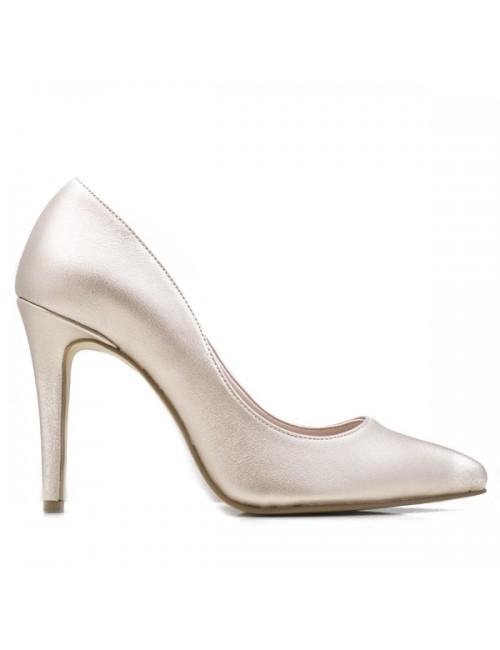 Γυναικεία γόβα Katia shoes Δερμάτινη Platinum Ελληνική