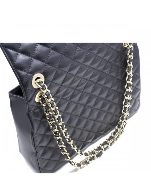 Γυναικεία τσάντα δερμάτινη καπιτονέ τύπου Σανέλ μεγάλη ΜΑΥΡΗ 43-L
