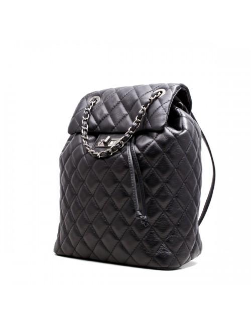 Γυναικεία δερμάτινη τσάντα πλάτης τύπου Σανέλ καπιτονέ 53-S ΜΑΥΡΗ