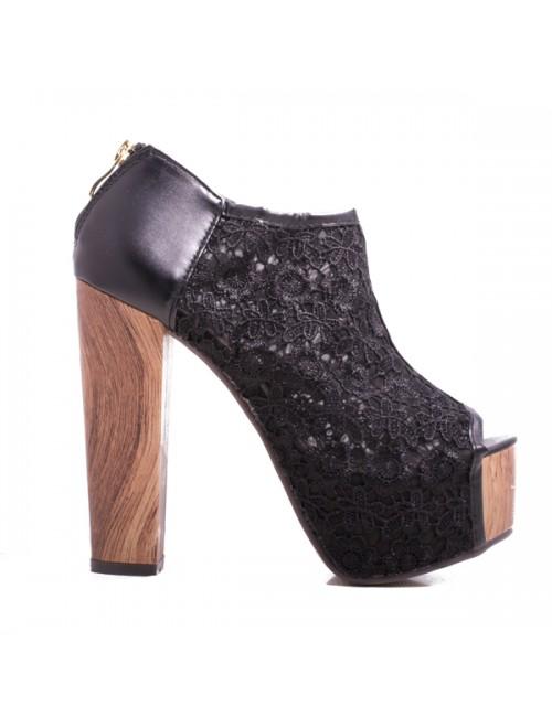 Μποτάκι ψηλοτάκουνο peep toe μαύρο - δαντέλα