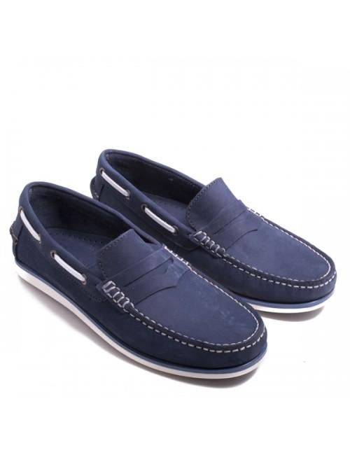 Ανδρικό boat loafers δερμάτινο GIOSEPPO NAVY