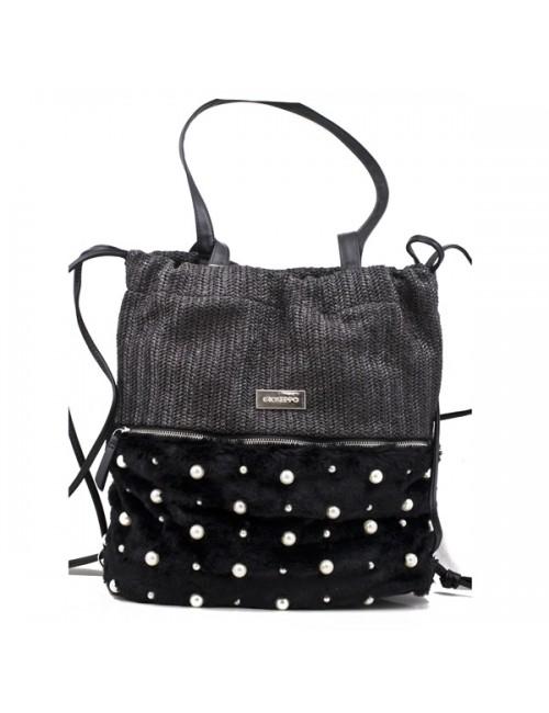 Γυναικεία τσάντα Gioseppo μαύρη ψάθα με πέρλες