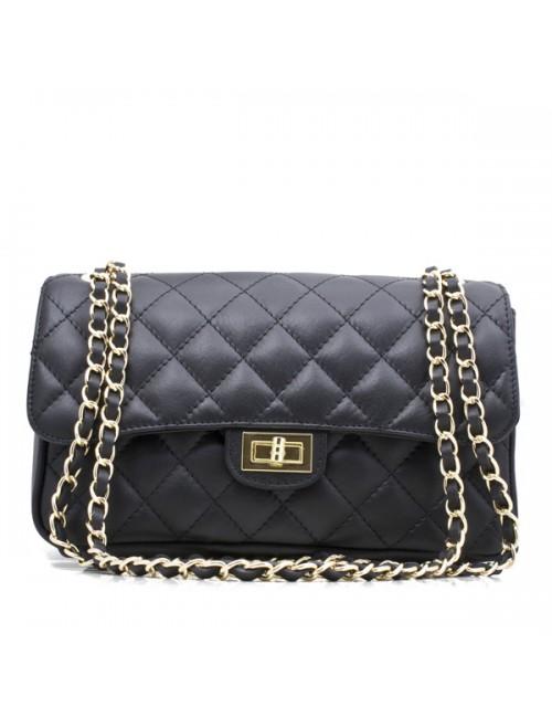 Γυναικεία τσάντα δερμα καπιτονέ τύπου Σανέλ 33-M  medium ΜΑΥΡΗ