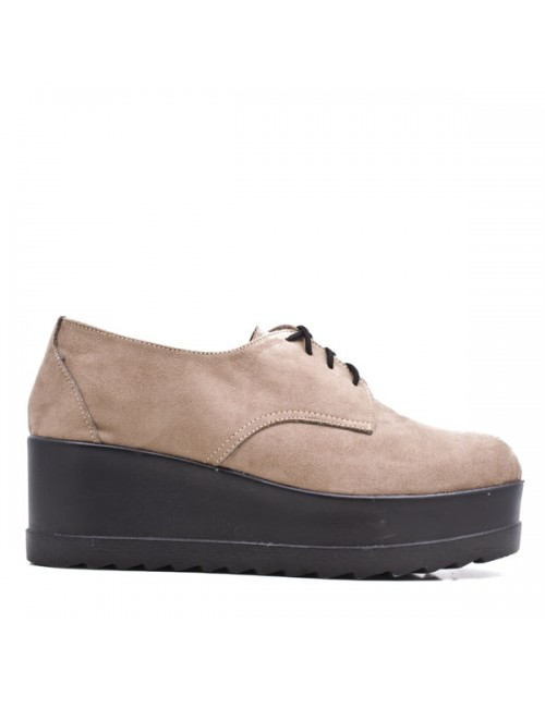 Γυναικεία παπούτσια δίπατα Oxfords Let's walk Δερμάτινα Σουέτ Μπέζ