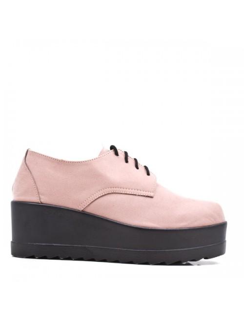 Γυναικεία παπούτσια δίπατα Oxfords Let's walk Δερμάτινα Σουέτ Ροζ